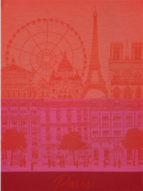 Paris panorama 100% cotton French tea towel in red