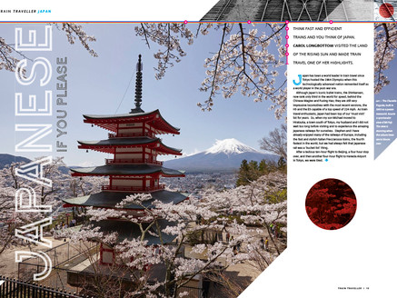 Magazine spread for consumer magazine Train Traveller on Japan