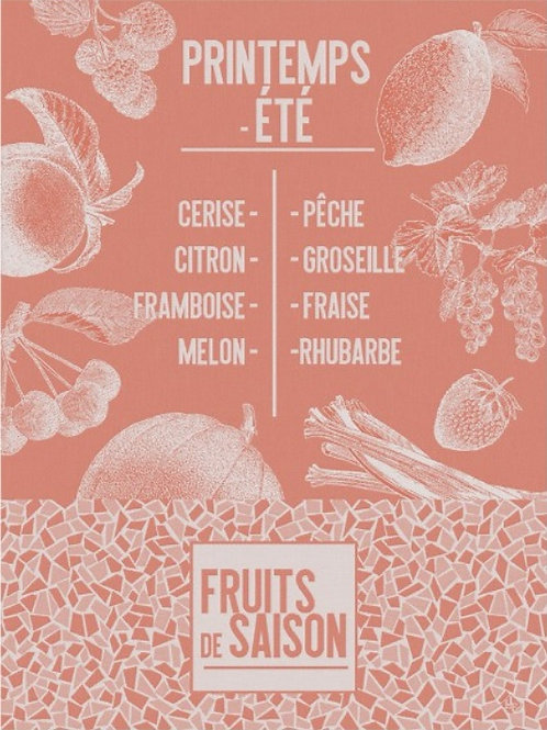 Seasonal fruit (De Saison Fruits) 100% cotton French tea towel