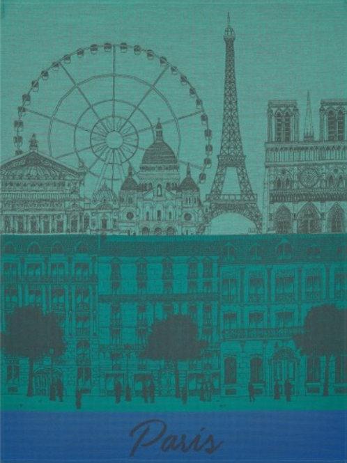 Paris panorama 100% cotton French tea towel in blue