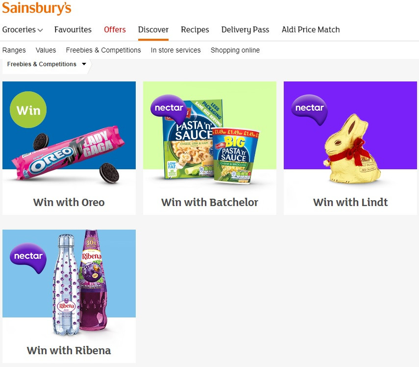 Competitions from Sainsburys online store