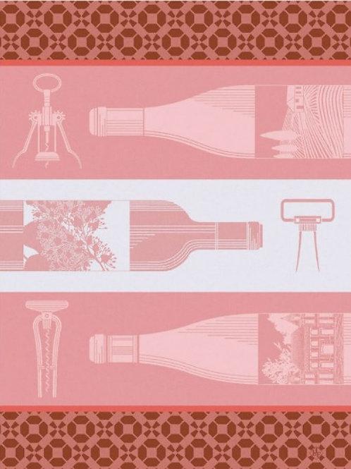 French wine bottle (Vin en bouteille) 100% cotton French tea towel in pink