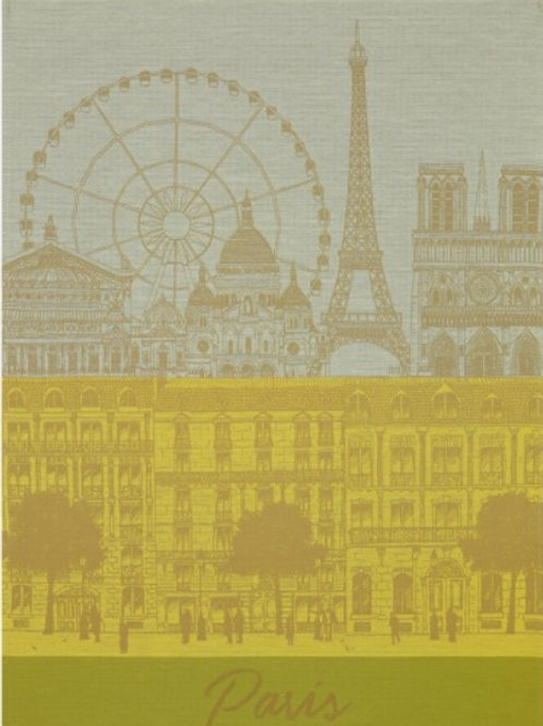 Paris panorama 100% cotton French tea towel in yellow