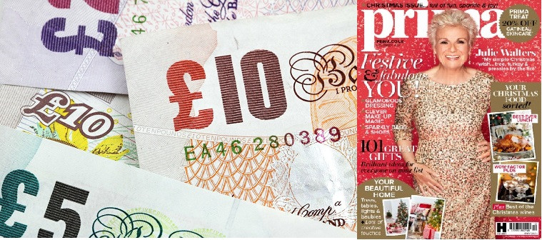 £150 cash free and 12 month Prima magazine subscription