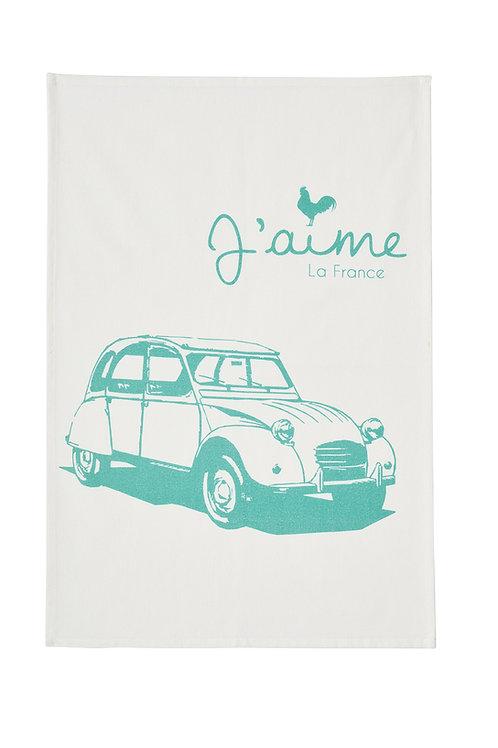 French vintage CV car printed tea towel