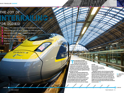 Magazine spread for consumer magazine Train Traveller on interrailing