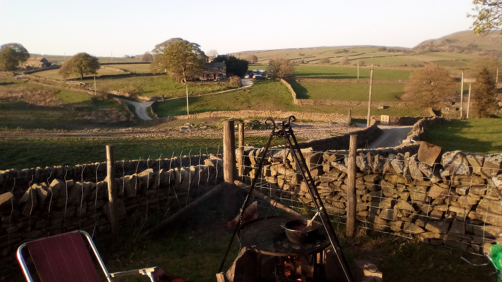 Cooking and view from shepherd's hut in the Peak District