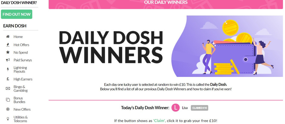 Today it was me, but tomorrow it could be you who wins the OhMyDosh! Daily Dosh Winner lottery