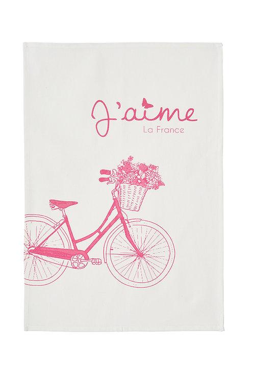 French vintage bicycle printed tea towel