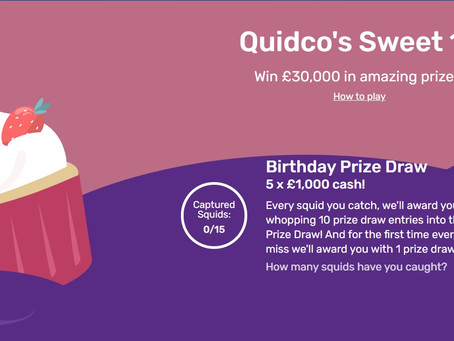 Quidco's Sweet 16 birthday prize draw, £30,000 worth of prizes
