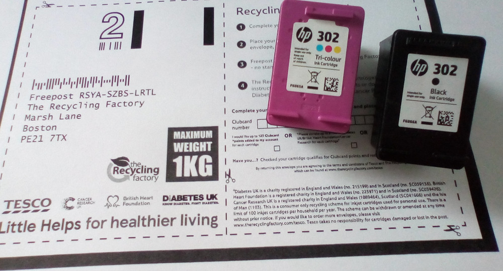 Used ink cartridges pictured with recycling details