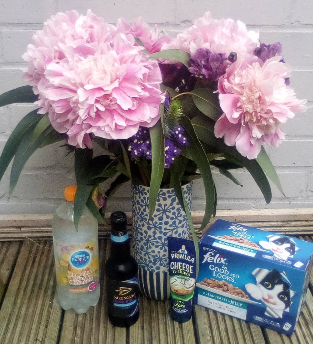 Freebies from the week including flowers, water, cider, cat food
