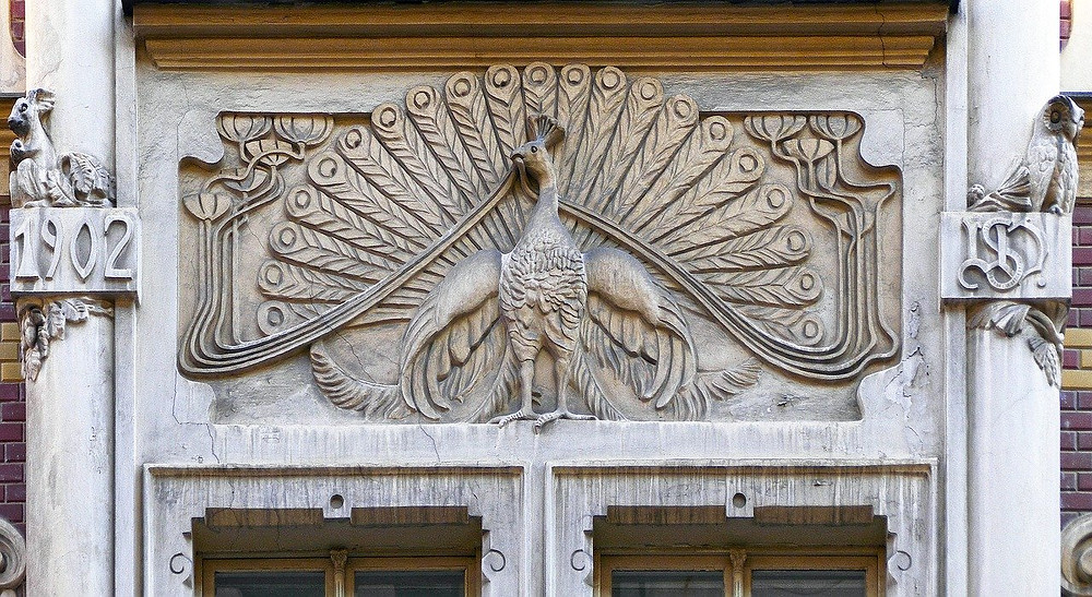 Art Nouveau detailing on building in France
