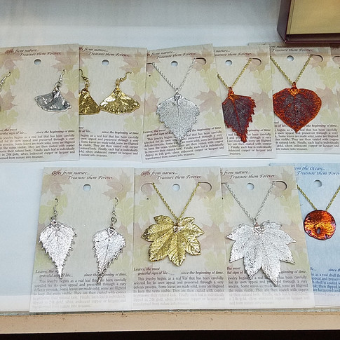Real Leaf Jewelry Gold Silver or Iridescent Copper