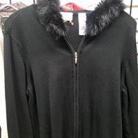Fur collared sweater