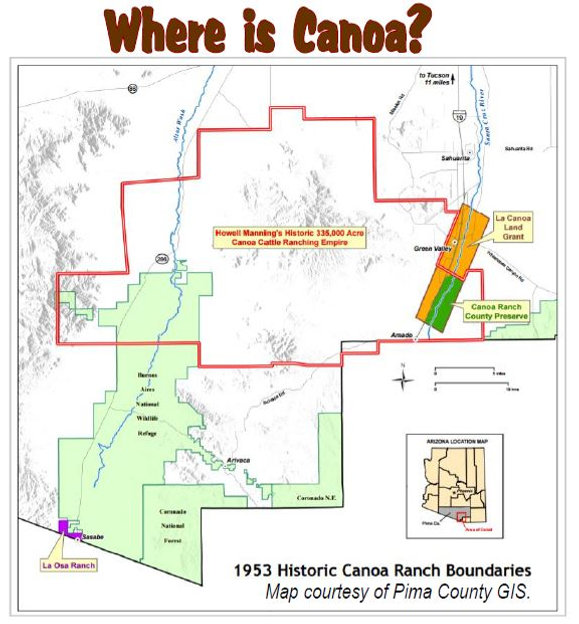 Map of the Historic Canoa Ranch empire with San Ignacio de la Canoa Spanish/Mexican land grant highlighted.