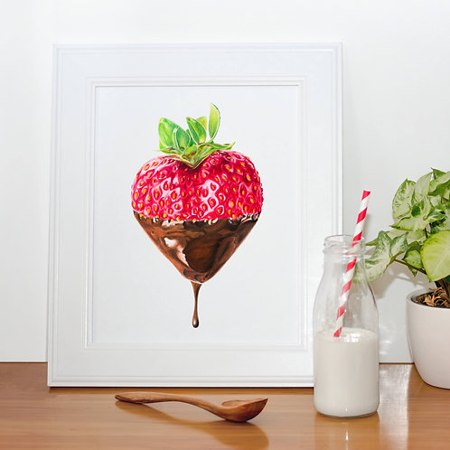 Chocolate Dipped Strawberry / A4 ART PRINT - LIMITED EDITION