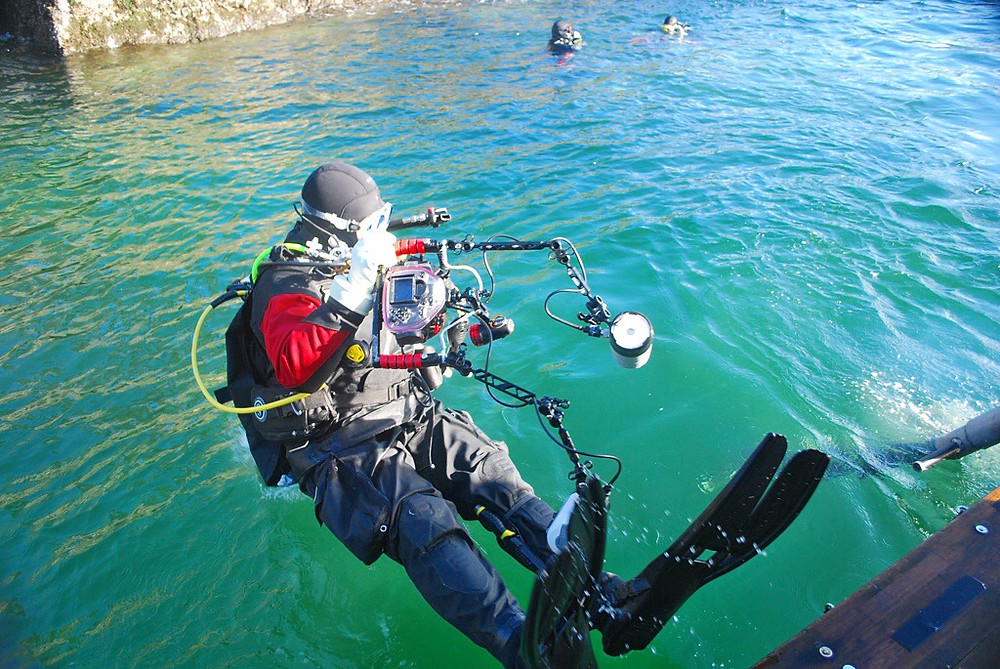 man scuba diving in howe sound underwater photography