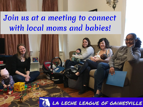 Join us at a meeting to connect with local moms and babies!