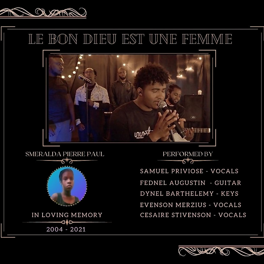 Samuel Priviose sings 'Dieu est une Femme' a Tribute to Sméralda Piérre Paul