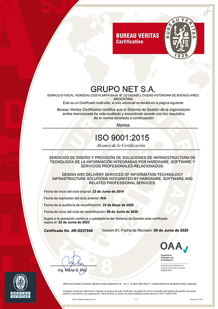GRUPO NET SA (OAA 9001-2015) CERTIFICATE