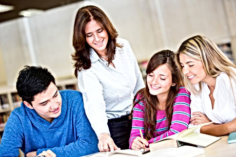 Group of students with an advisor at the
