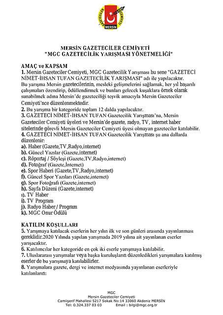 MGC GAZETECİLİK YARIŞMASI YÖNETMELİĞİ-1.