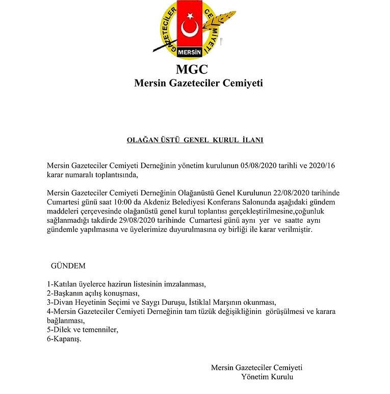 mgc OLAĞANÜSTÜ GENEL KURUL İLANI 08,2020