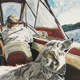 """Rose on Boat. 2020.   Water color and goauche on paper (9""""x12"""")"""