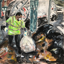 """Ode to Philly Sanitation Workers. 2020.   Watercolor and acrylic on paper (9""""x12"""")"""