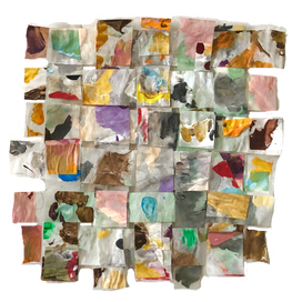 """Painted Paper Weave No. 1. 2020.   Watercolor and acrylic on glassine paper (7""""x7"""")"""