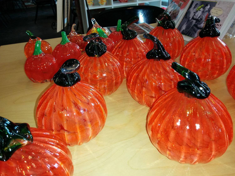 blown glass pumpkins by Abby Rice