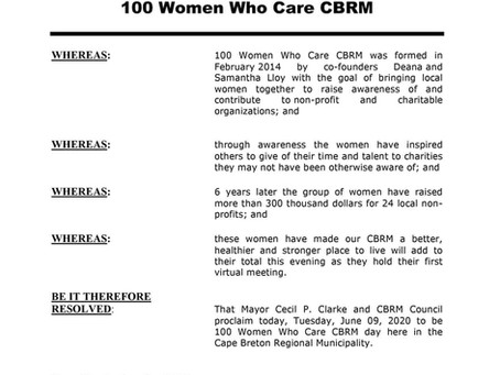 CBRM Council proclaims June 9, 2020 as 100 Women Who Care CBRM Day in the CBRM!