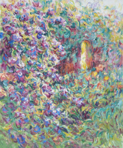 Flowers by the Archway. 100x80cms