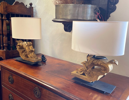 Pair of Gold Gilded Architectural Element Lamps