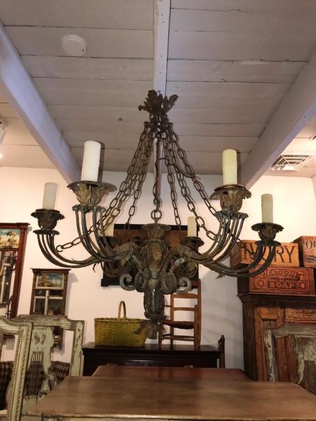 19th Century Spanish Hand Forged iron Light