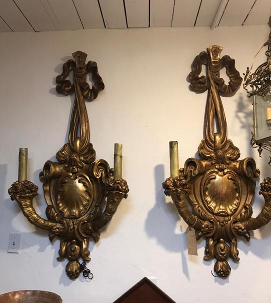 Pair of Parisian Gold Gilded Sconces