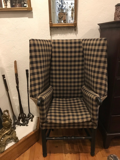 Pair of Gingham Upholstered Pilgrim Wing Back Chairs