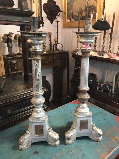 Pair of Silver Gilded Candlesticks