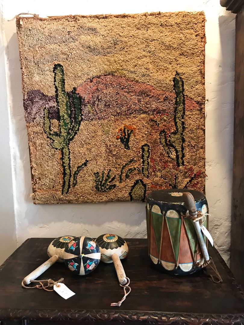 Vintage Hook Rug of desert scene