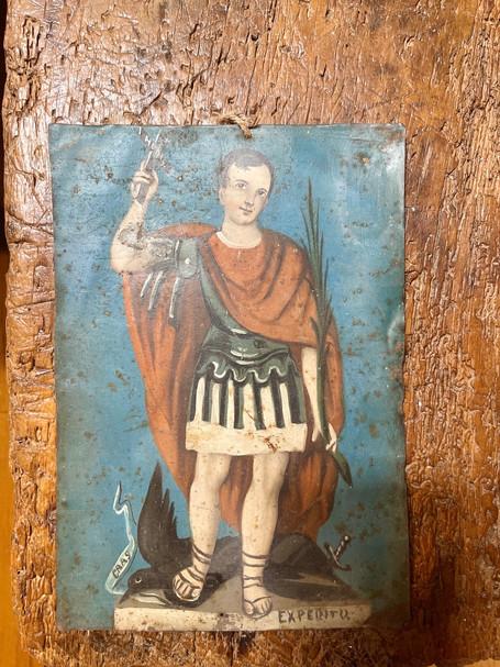 19th Century Retablo of Saint Expedito