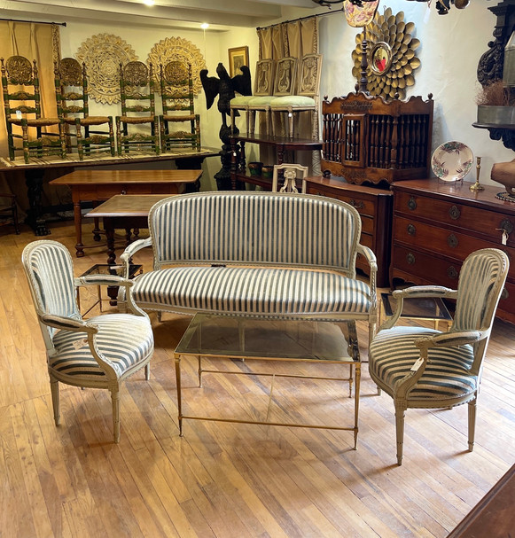Late 19th Century French Sofa and Pair of Chairs