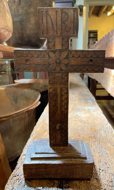 19th Century Mexican Wood Carved Cross