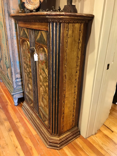 Side View of 18th Century Italian Vestement Cabinet