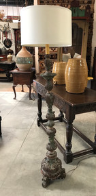 Italian Carved Candlestick Converted to Floorlamp
