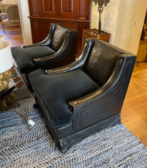 Close up of Spanish Leather Club Chairs
