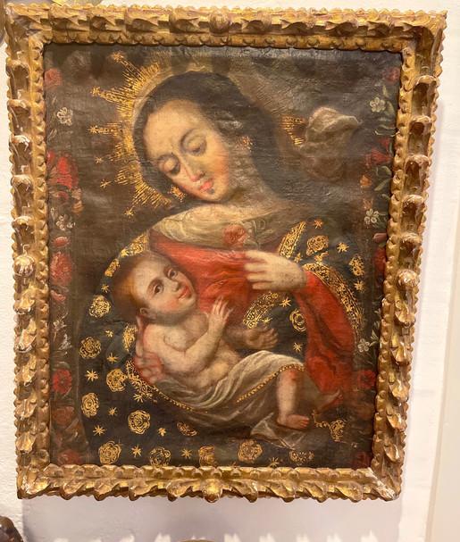 18th Century Peruvian Oil with Original Frame
