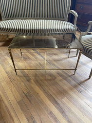 1940's French Brass coffe table with glass top