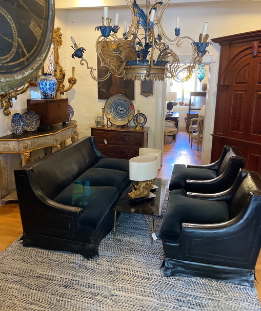 1930's Spanish Leather Sofa and 2 Club Chairs