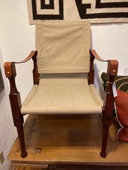 Mid Century Leather, Wood and Canvas Campaign Chair
